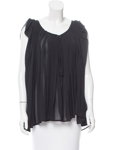 Ann Demeulemeester Silk Pleated Top None