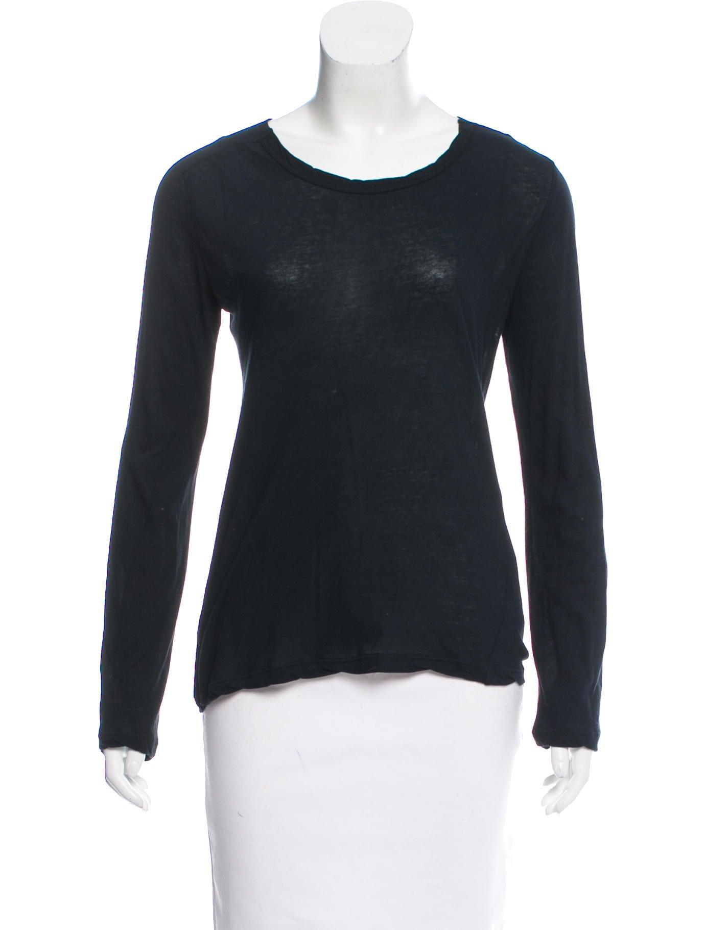 Ann demeulemeester long sleeve scoop neck t shirt for Long sleeve scoop neck shirt