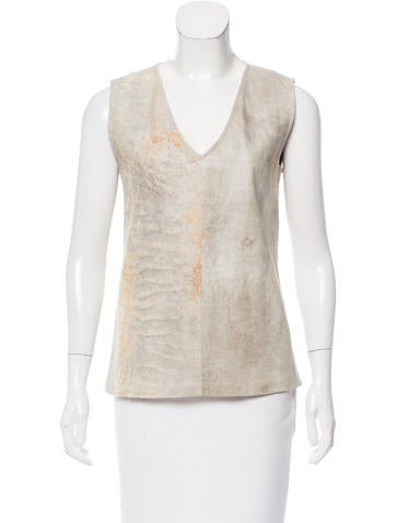 Ann Demeulemeester Textured Leather Top None