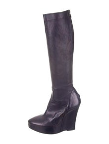 34f25f9c399 Ann Demeulemeester. Leather Knee-High Wedge Boots