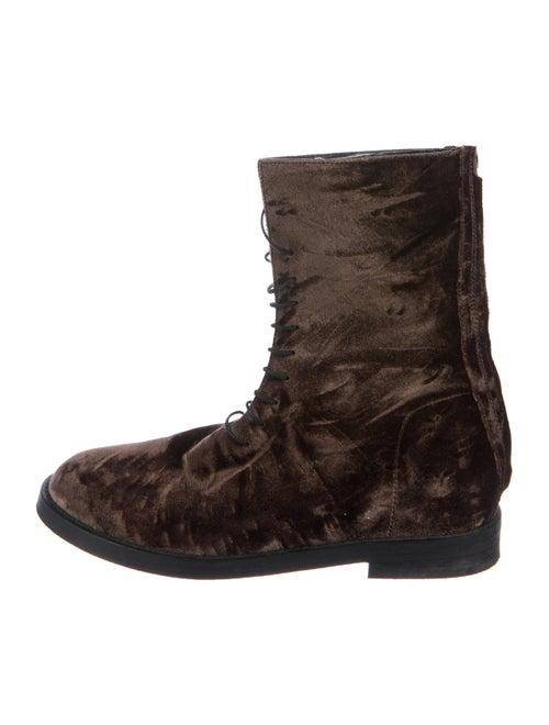 Ann Demeulemeester Velvet Combat Boots