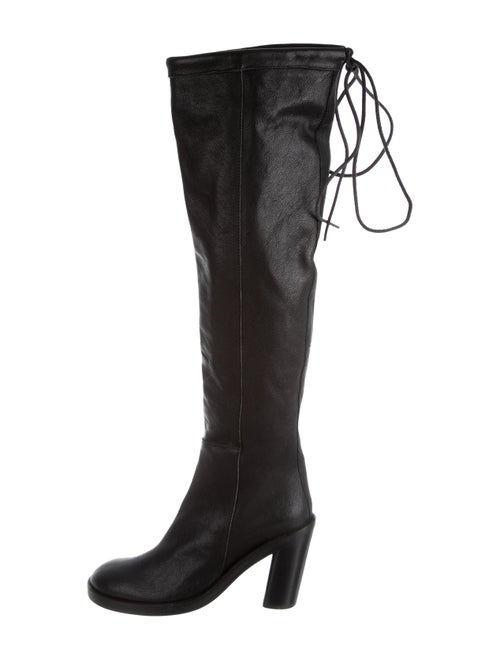 Ann Demeulemeester Leather Over-the-Knee Boots Bla