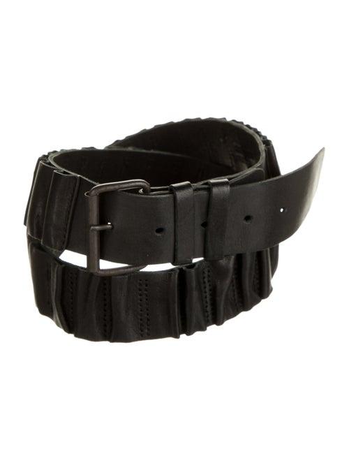Ann Demeulemeester Ruffled Leather Belt Black
