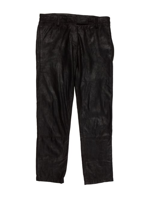 Ann Demeulemeester Leather Mid-Rise Pants Black