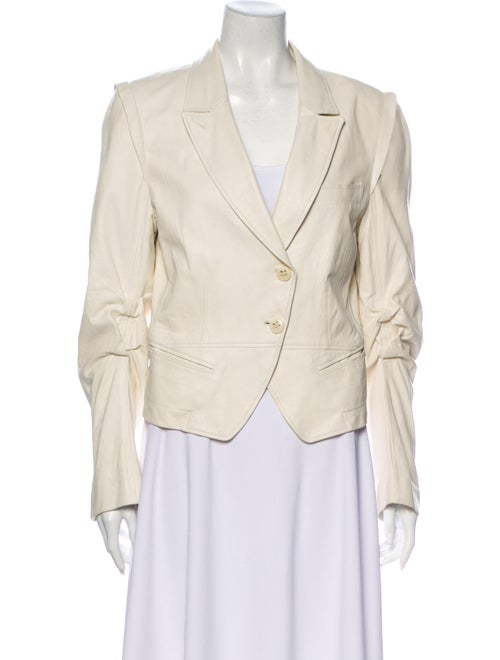 Ann Demeulemeester Leather Blazer White