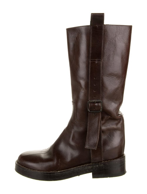 Ann Demeulemeester Leather Moto Boots Brown
