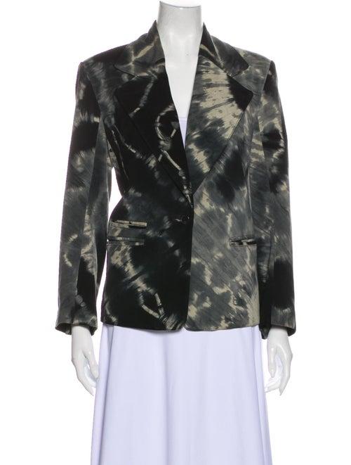 Ann Demeulemeester Leather Floral Print Blazer Bla