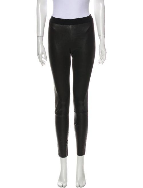 Ann Demeulemeester Leather Skinny Leg Pants Black