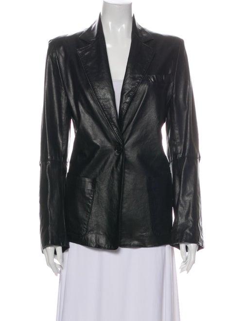 Ann Demeulemeester Leather Blazer Black