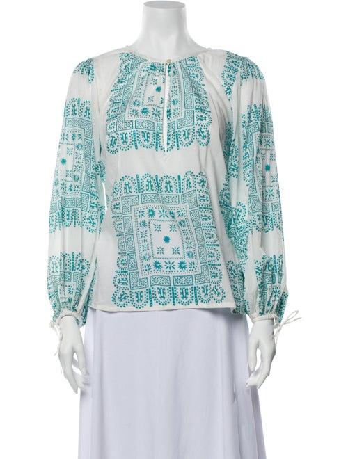 Antik Batik Printed Scoop Neck Blouse White