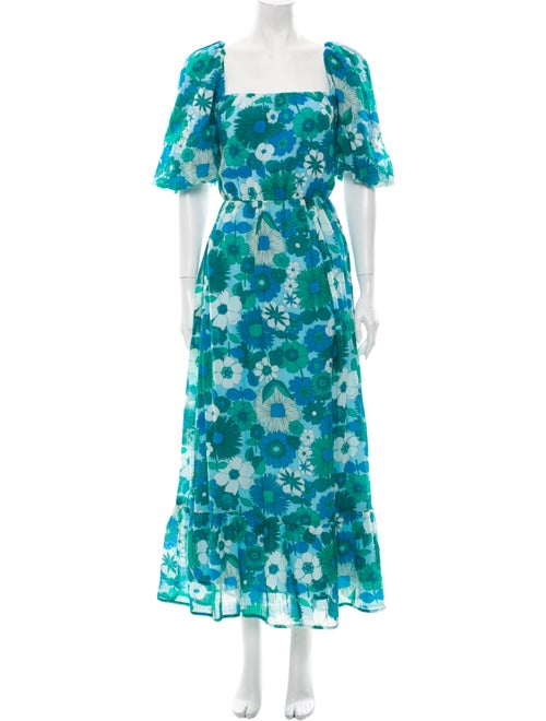 Antik Batik Floral Print Midi Length Dress Blue