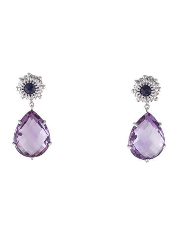 Anzie Dew Drop Amethyst & Iolite Drop Earrings None