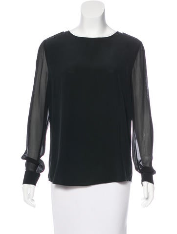 Aquascutum Long Sleeve Silk Top None