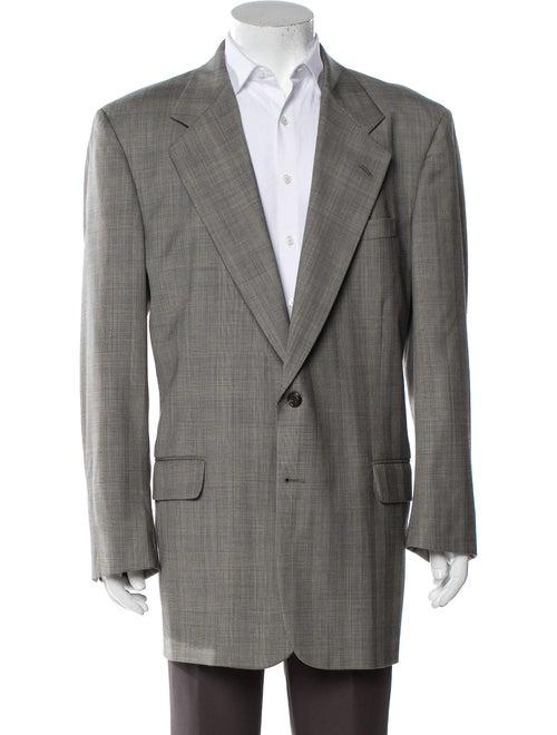 Aquascutum Plaid Print Sport Coat Grey