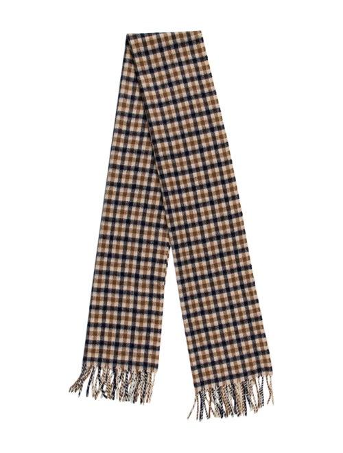 Aquascutum Checkered Wool Scarf Tan