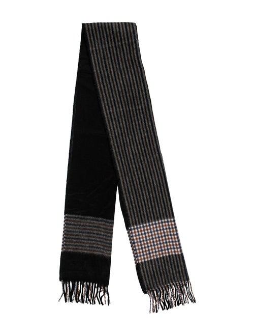 Aquascutum Lambswool & Angora Striped Scarf Black