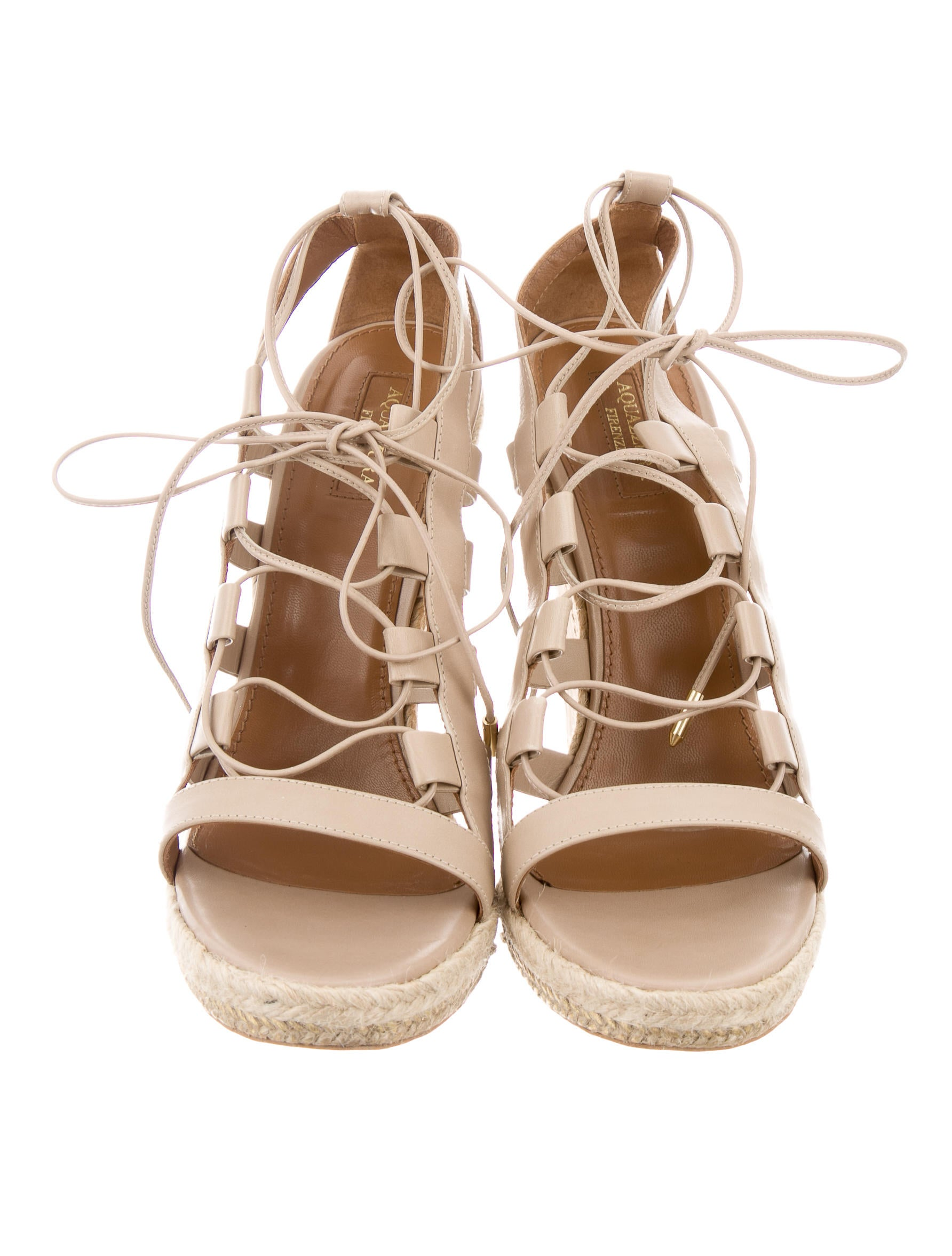 Aquazzura Amazon Lace-Up Wedge Sandals - Shoes - AQZ20889 ...