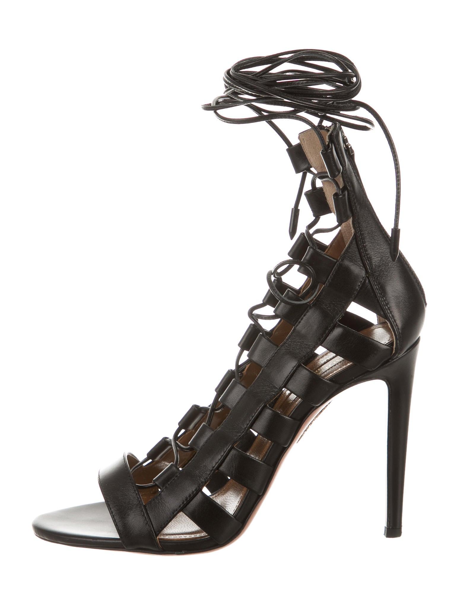 1079687916 Aquazzura Amazon Lace-Up Sandals - Shoes - AQZ21500