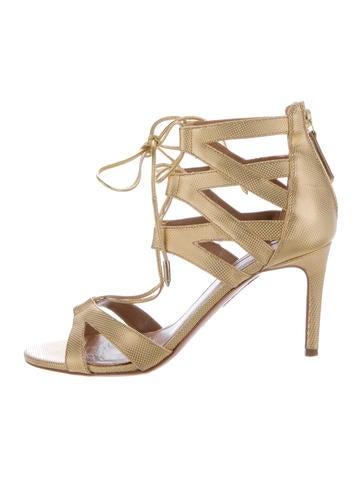 Aquazzura Embossed Metallic Sandals