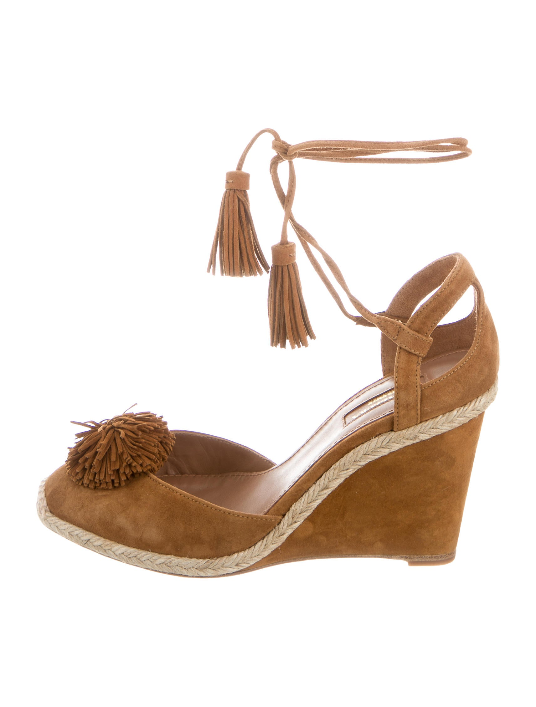 Aquazzura Sunshine Fringe-Accented Wedges w/ Tags sast supply cheap price comfortable online pictures cheap online MXq5vPGF4