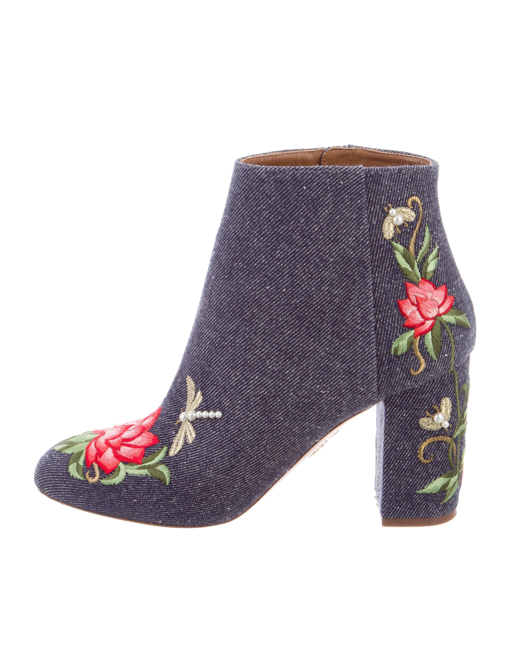 Aquazzura Lotus 85 Denim Embroidered Boots discount lowest price discount big discount gAirMC2