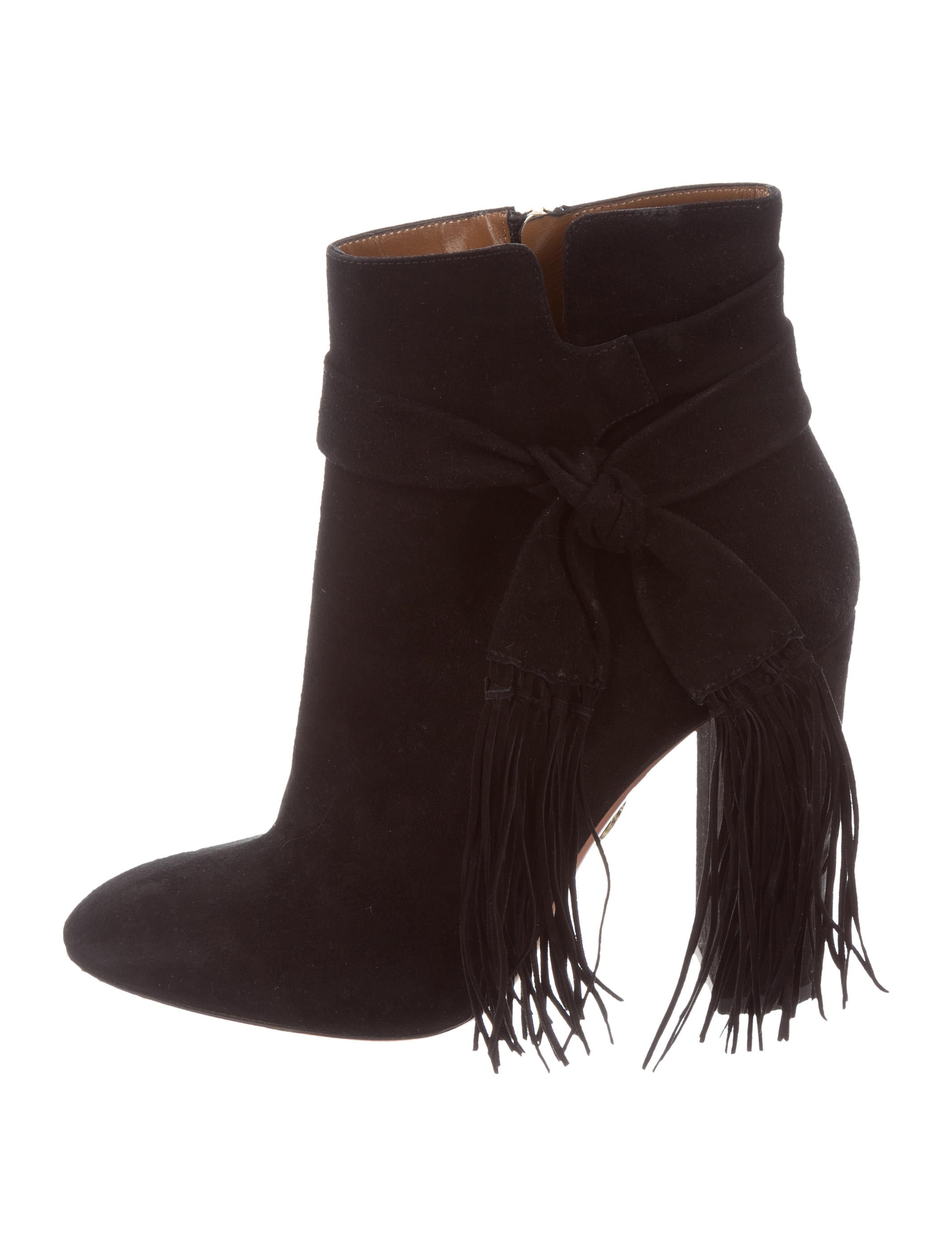 shopping online free shipping discount low price Aquazzura Fur & Fringe-Trimmed Booties 2zn3PShw