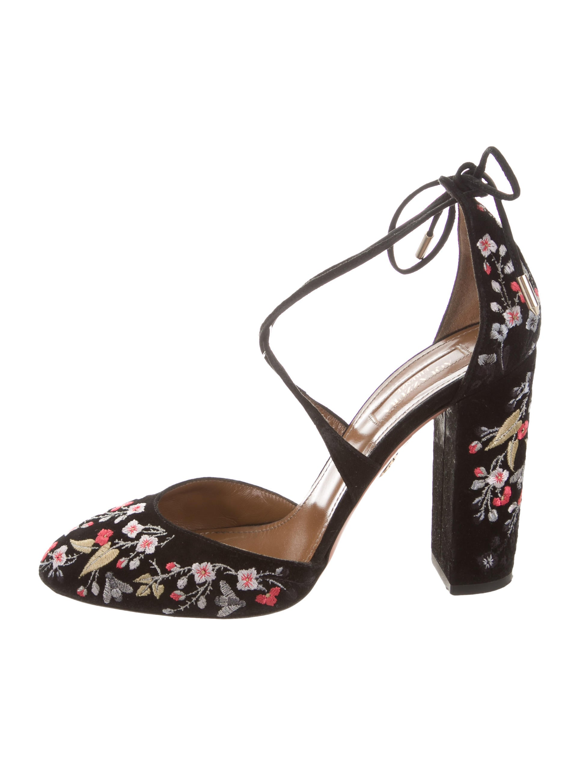 Aquazzura Karlie Floral-Embroidered Pumps outlet amazing price K0Adn