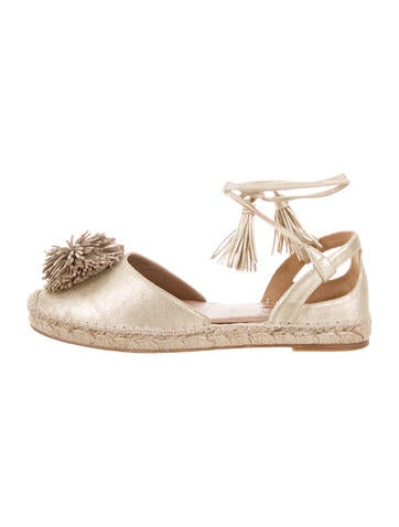 Aquazzura Metallic Pom-Pom Espadrilles free shipping how much good selling sale online hot sale cheap price k9R495pFuK