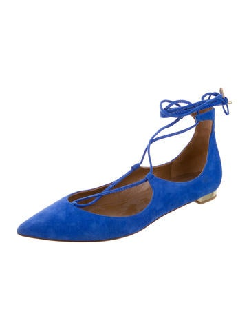 Pointed-Toe Lace-Up Flats