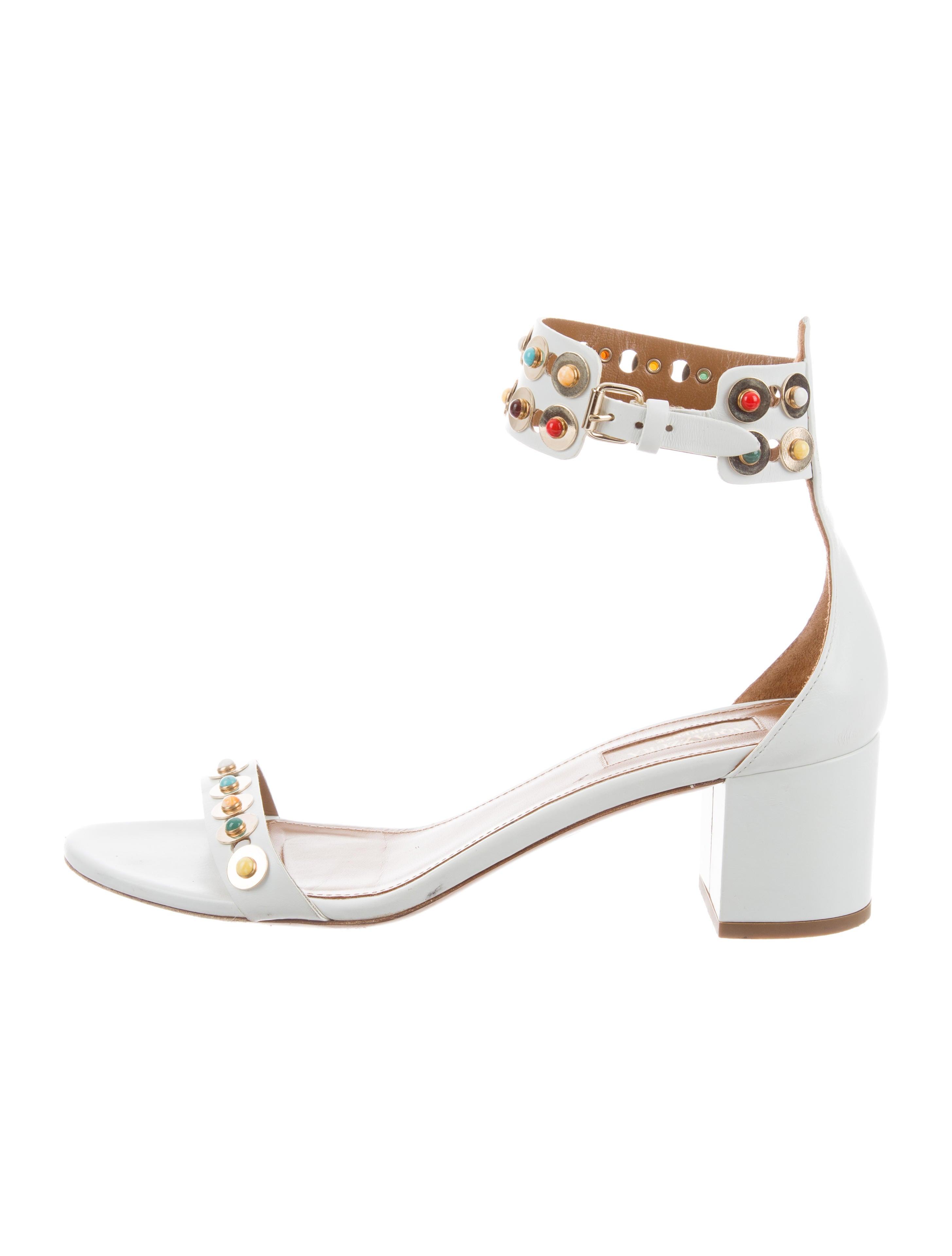 ae60c22d2 Aquazzura Leather Embellished Sandals - Shoes - AQZ28919