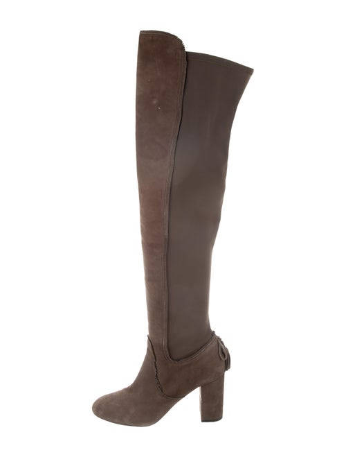 Aquazzura Suede Over-The-Knee Boots Olive