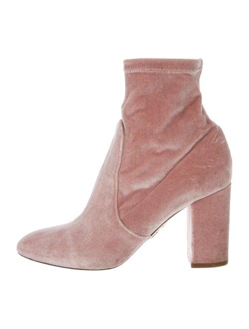 Aquazzura Velvet Ankle Boots Pink