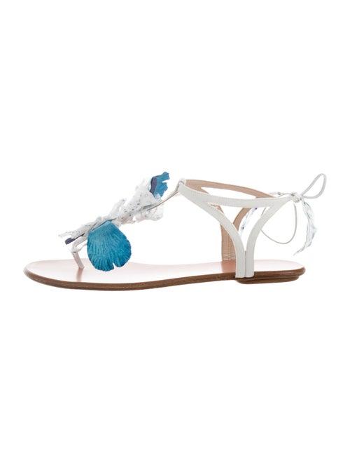 Aquazzura Fringe Thong Sandals White