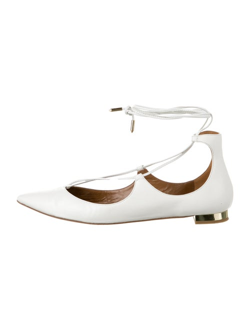 Aquazzura Christy Leather Flats White