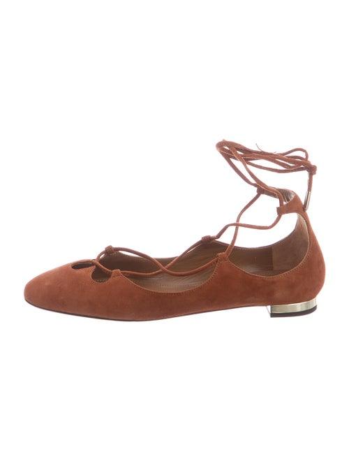 Aquazzura Suede Ballet Flats Brown