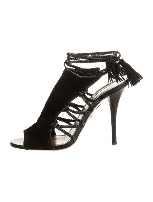 Aquazzura Suede Gladiator Sandals Black