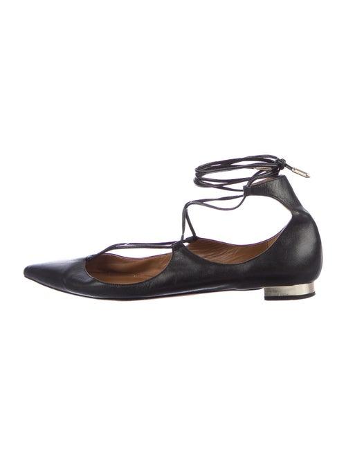 Aquazzura Leather Flats Black