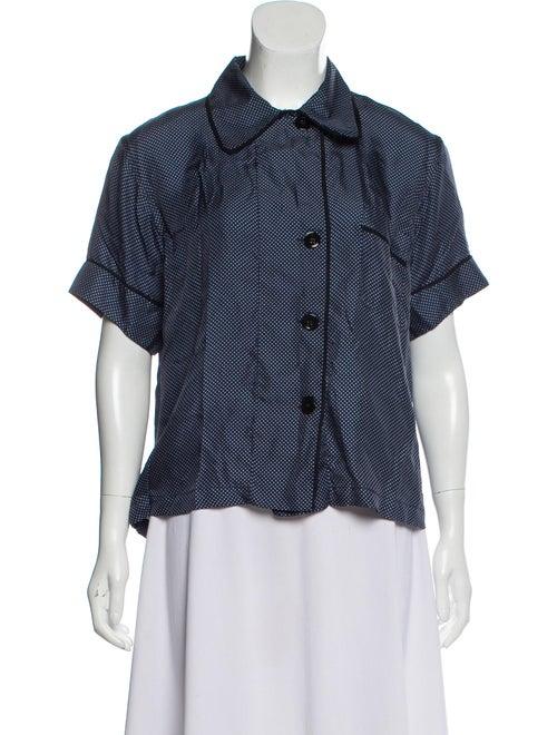 Araks Silk Pajama Top Navy