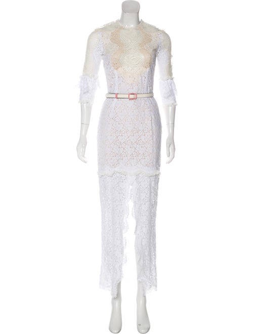 Alessandra Rich Lace Maxi Dress White