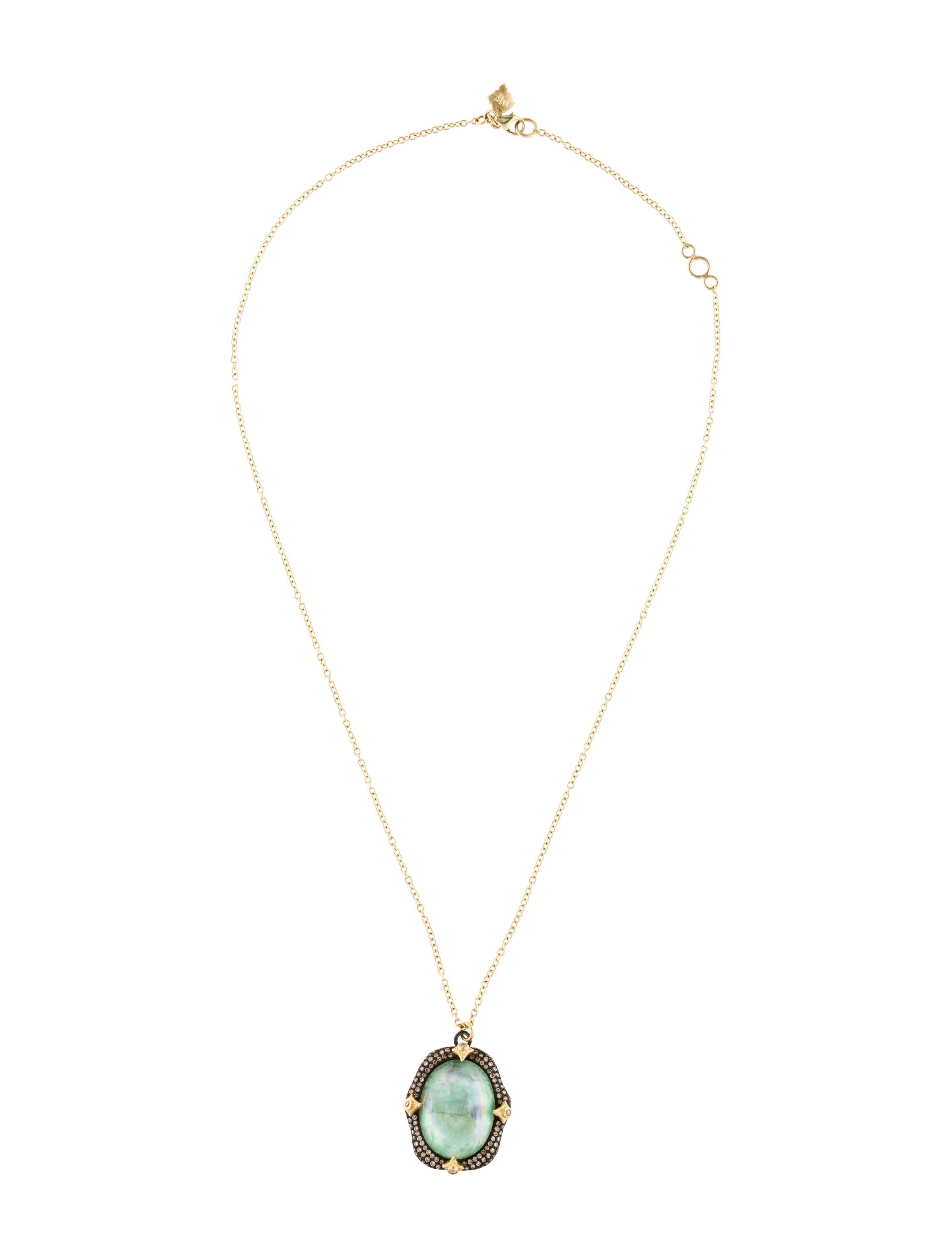 Armenta Rose Mother-of-Pearl & Quarts Pendant Necklace with Diamonds yiHu93