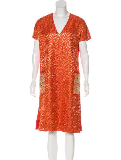 Manish Arora Beaded Kaftan Dress Orange