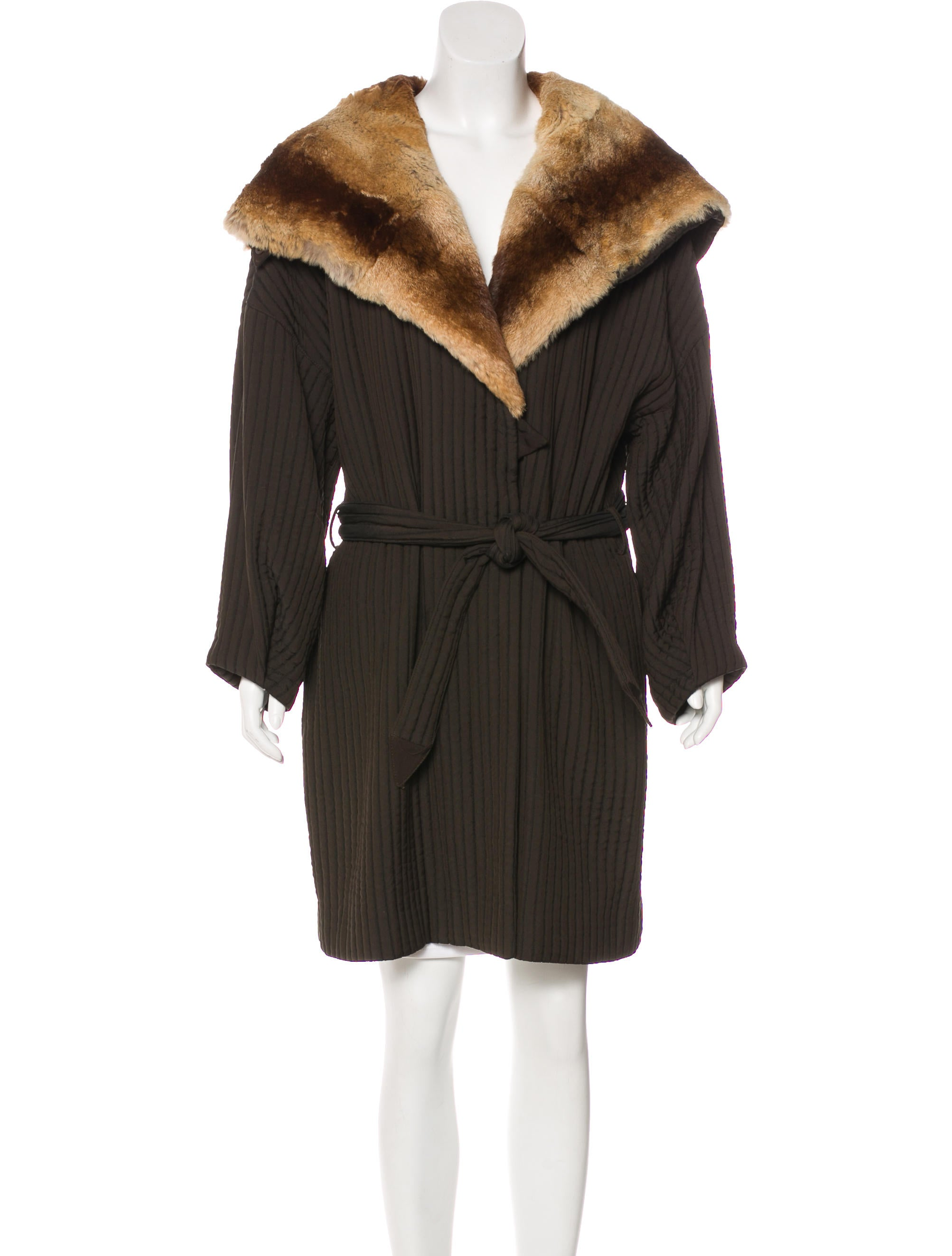 Armani Collezioni Fur Lined Quilted Coat Clothing