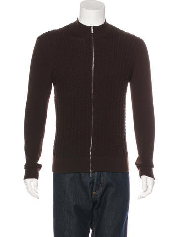 Armani Collezioni Rib Knit Zip Sweater None