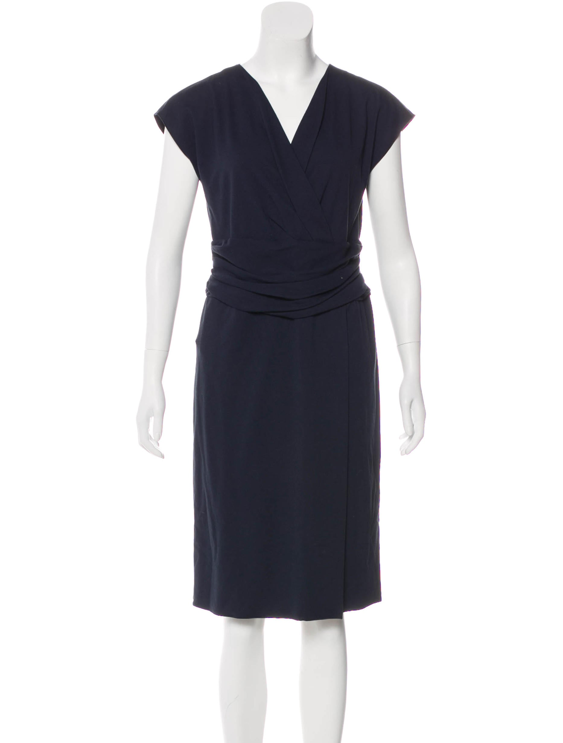 ad4ff8ef845 Armani Collezioni Surplice Neck Midi Dress - Clothing - ARR25434 ...