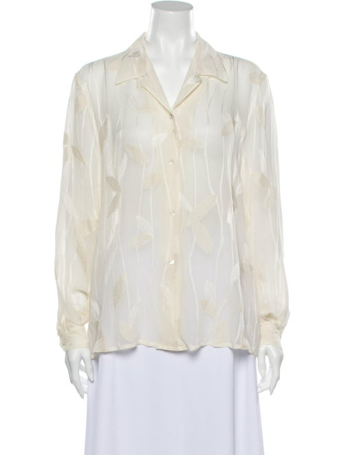 Armani Collezioni Striped Long Sleeve Button-Up To