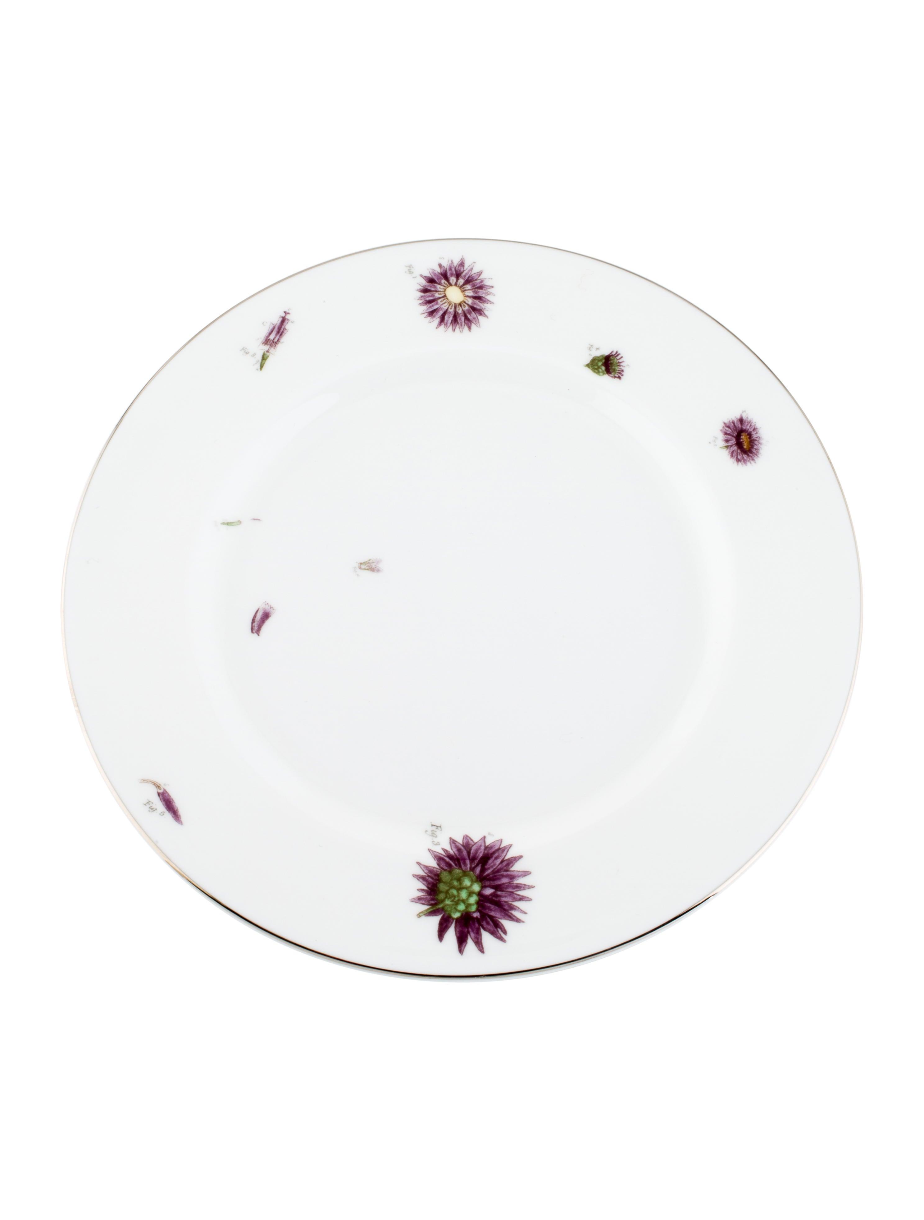 Asprey Set Of 12 Floral Bread Plates