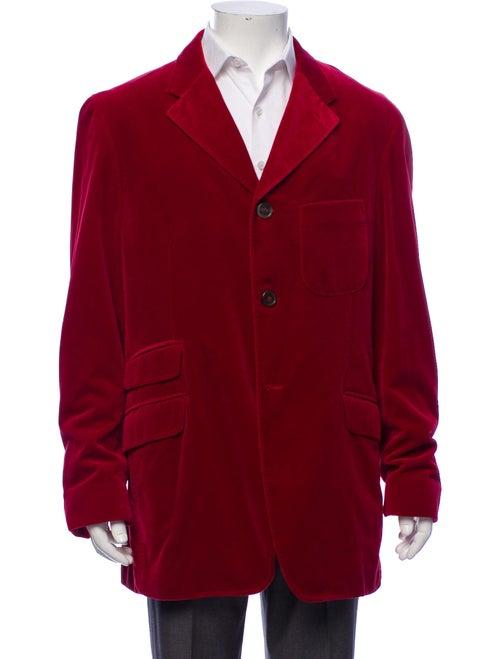 Asprey Velvet Notch-Lapel Coat red
