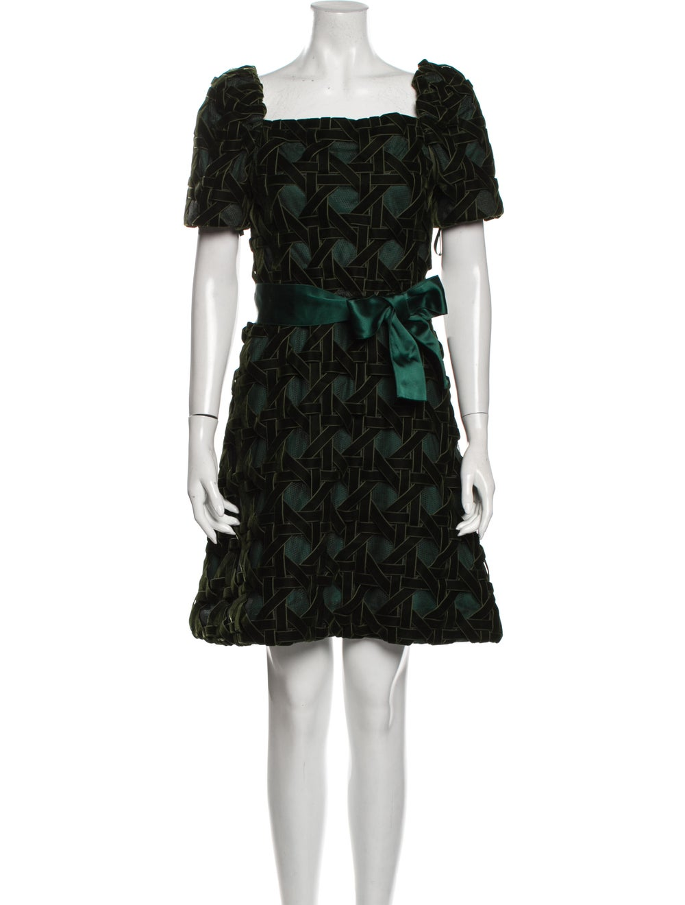 Arnold Scaasi Printed Mini Dress Green - image 1