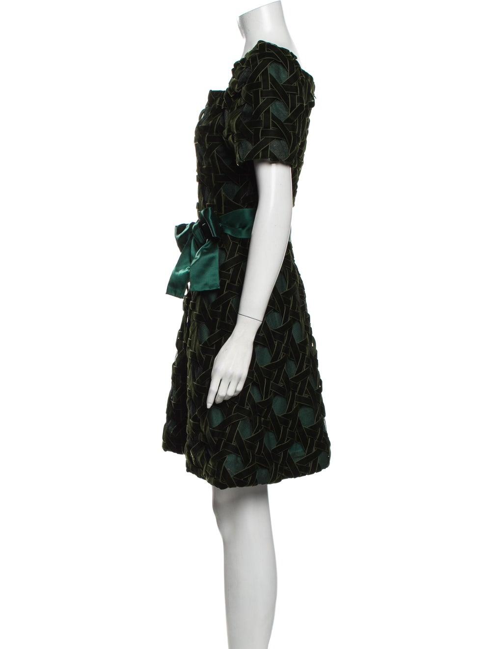 Arnold Scaasi Printed Mini Dress Green - image 2