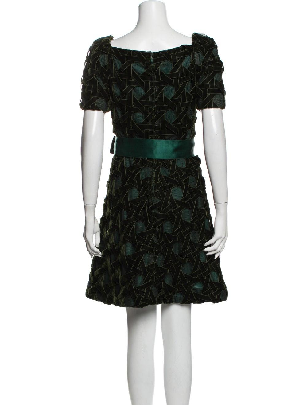 Arnold Scaasi Printed Mini Dress Green - image 3